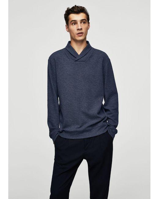 Mango   Blue Flecked Cotton-blend Sweater for Men   Lyst
