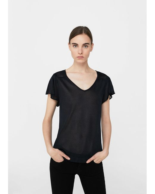 Mango   Black Flowy T-shirt   Lyst