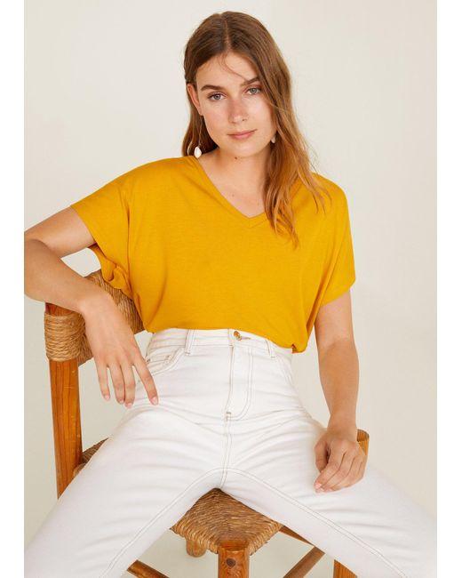 Mango - Yellow V-neck T-shirt - Lyst