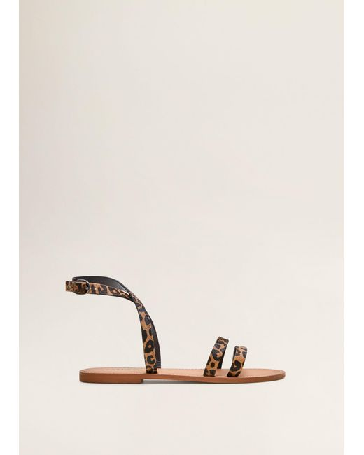 2da742924b Mango - Black Leather Straps Sandals - Lyst ...