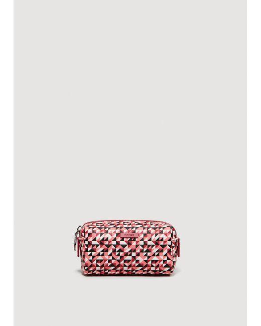 Mango - Red Geometric Print Cosmetic Bag - Lyst