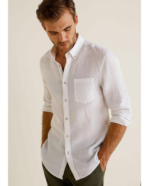Mango - White 100% Linen Slim-fit Shirt for Men - Lyst