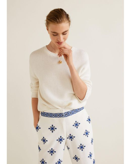 Mango - White Embroidered Straight Pants - Lyst