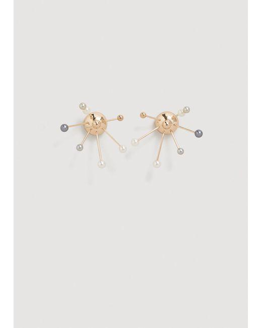 Mango   Metallic Geometric Pearl Earrings   Lyst