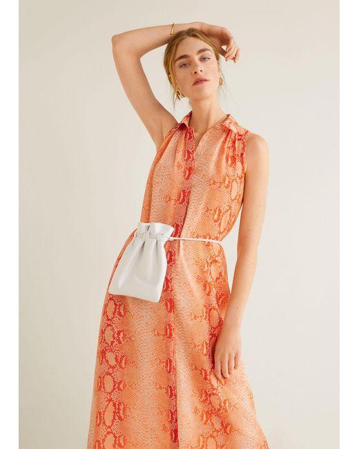 08e3cceb04b Mango - Orange Printed Long Dress - Lyst ...
