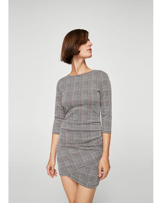 Mango - Red Houndstooth Dress - Lyst