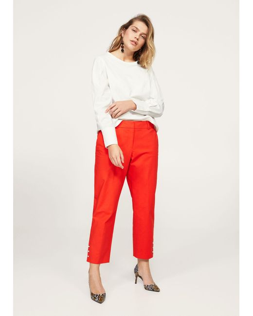 Violeta by Mango | Orange Cropped Button Pants | Lyst
