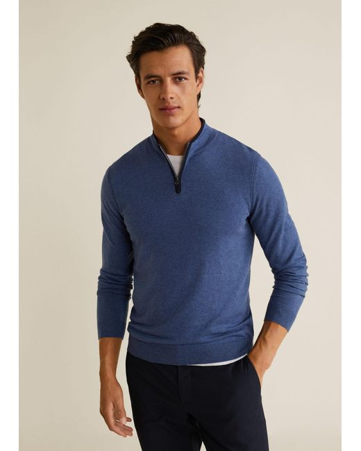 Mango - Blue Contrast-edge Cashmere Sweater for Men - Lyst