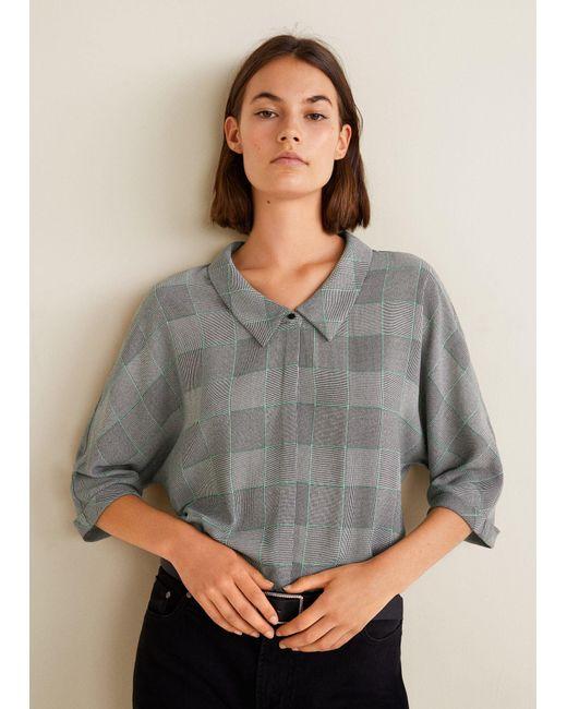 Mango - Gray Flowy Printed Blouse - Lyst