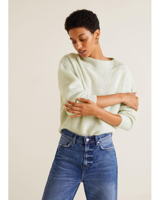 Mango - Green Ribbed Knit Sweater - Lyst