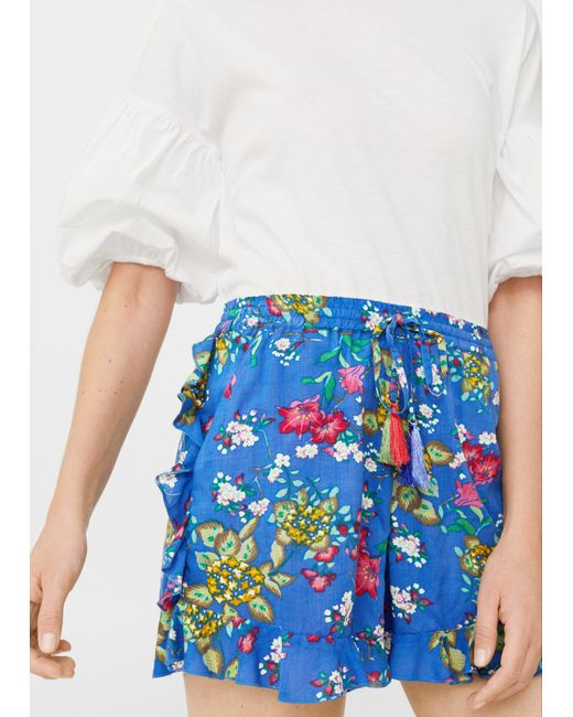 Mango | Blue Printed Flowy Shorts | Lyst