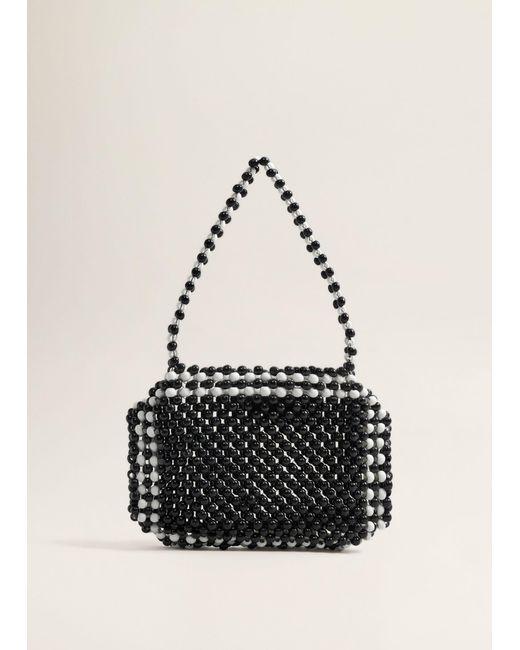 Mango - Black Bicolor Beaded Bag - Lyst