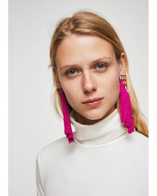 Mango - Multicolor Fringe Beads Earrings - Lyst