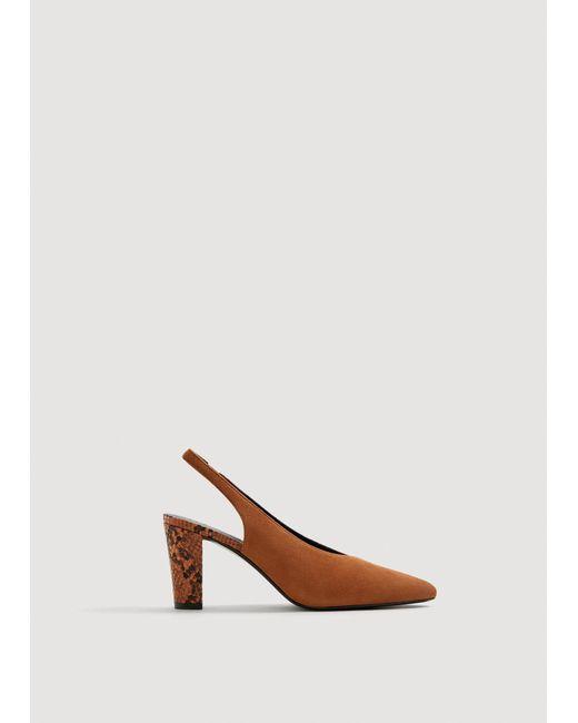 Mango - Orange Slingback Leather Shoes - Lyst