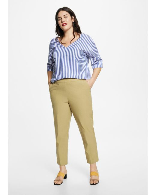Violeta by Mango - Natural Trousers - Lyst