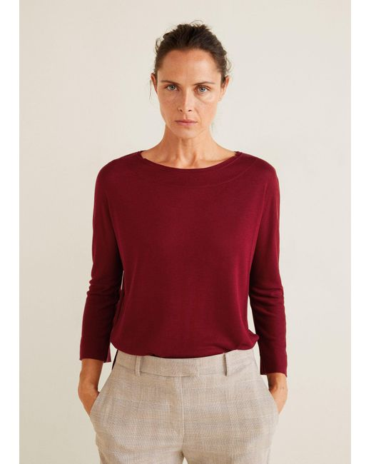Mango - Red Soft Fabric T-shirt - Lyst