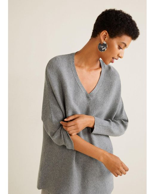 Mango - Gray Ribbed Fine-knit Sweater - Lyst