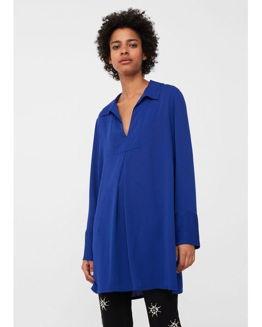 Mango | Blue Flowy Blouse | Lyst