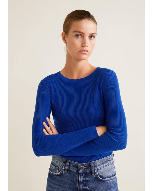 Mango - Blue Ribbed Fine-knit Sweater - Lyst