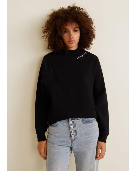 Mango - Black High Collar Sweatshirt - Lyst