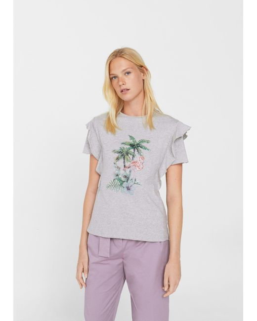 Mango | Gray Printed Cotton T-shirt | Lyst