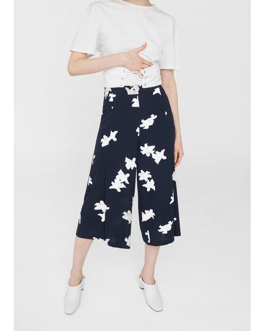 Mango | Blue Flowy Cropped Trousers | Lyst