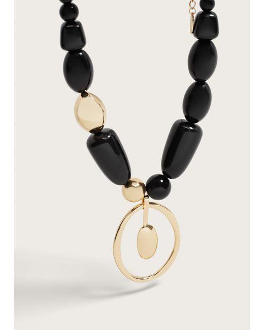 Violeta by Mango | Metallic Bead Stone Necklace | Lyst