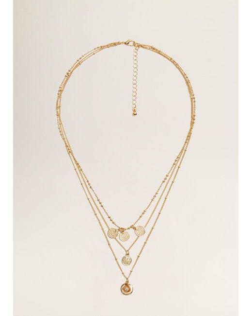 Mango - Metallic Mixed Chain Necklace - Lyst