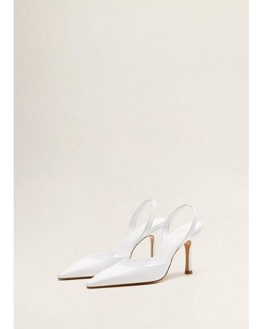 c14840f442 Mango Heel Leather Shoes White in White - Lyst