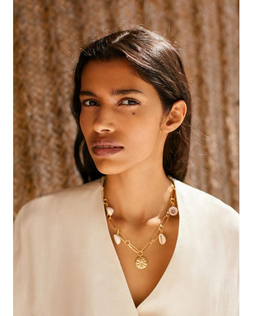 Mango - Metallic Shells Bead Necklace - Lyst
