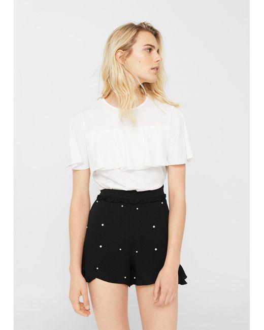 Mango | Black Pearl Flowy Shorts | Lyst