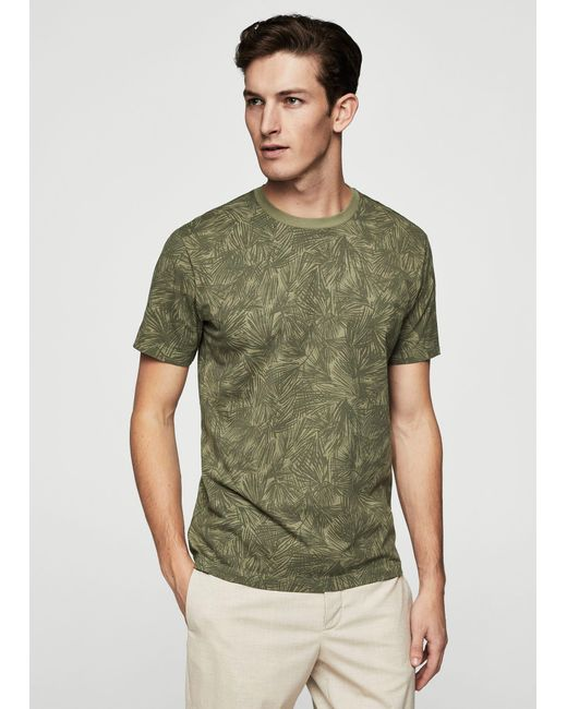 Mango | Green Printed Cotton T-shirt for Men | Lyst