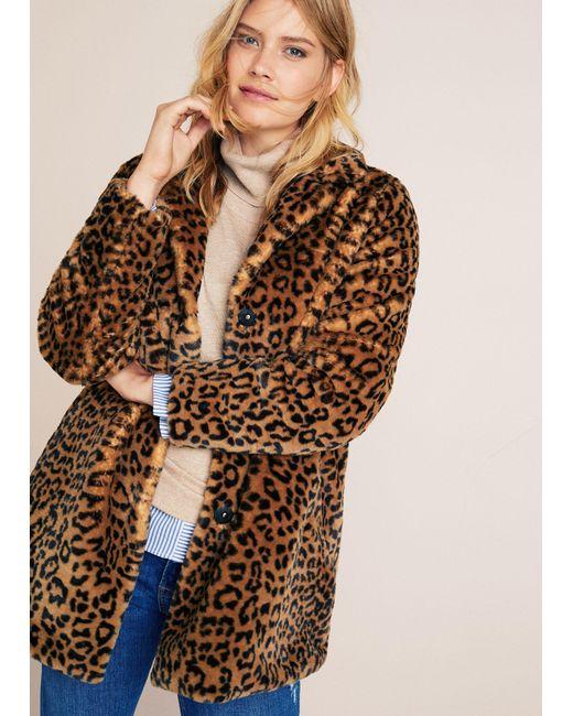 392d7418c6e6 Violeta by Mango Animal Print Faux Fur Coat in Brown - Save 40% - Lyst