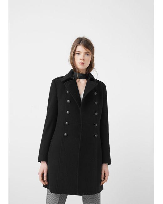 Mango Military Style Wool Coat in Black