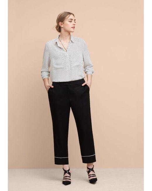 Violeta by Mango | White Flowy Printed Shirt | Lyst