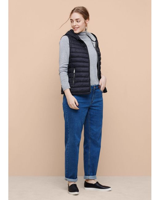 Violeta by Mango | Blue Hooded Quilted Gilet | Lyst