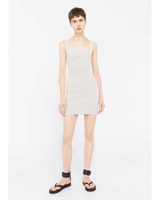 Mango | White Fitted Textured Dress | Lyst