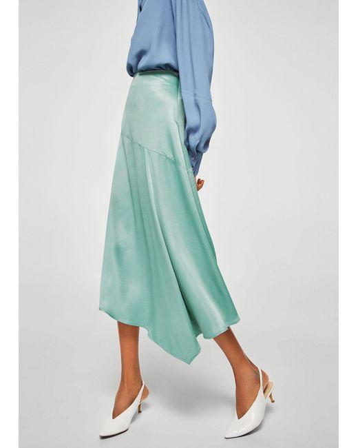 Mango - Green Satin Asymetric Skirt - Lyst