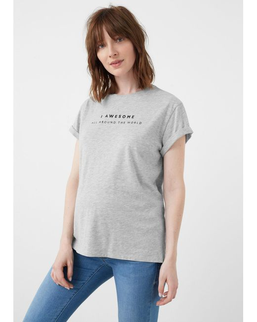 Mango - Gray T-shirt - Lyst