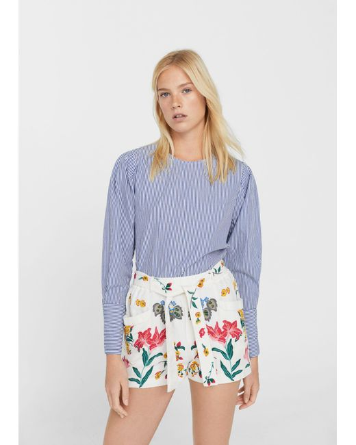 Mango | Multicolor Embroidered Cotton Shorts | Lyst