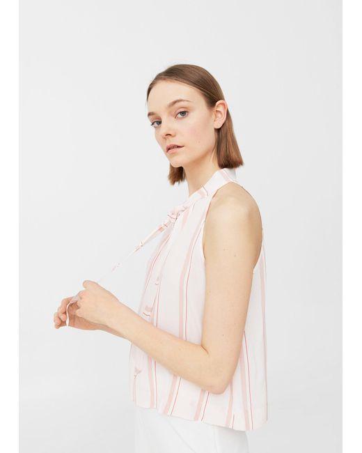 Mango | Pink Flowy Striped Blouse | Lyst