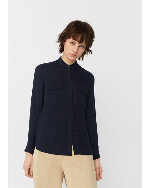 Mango   Blue Pockets Flowy Shirt   Lyst