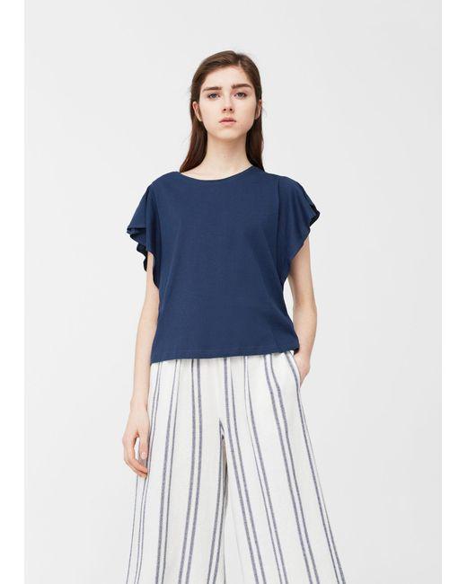 Mango   Blue Ruffled Sleeve T-shirt   Lyst