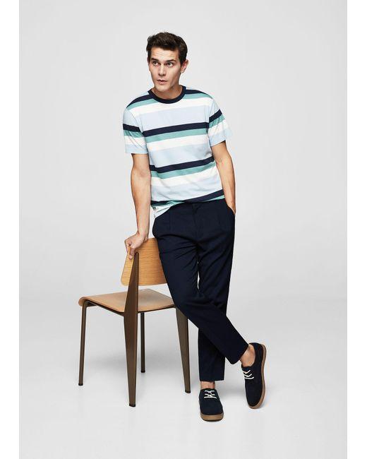 Mango - Purple Striped Cotton T-shirt for Men - Lyst