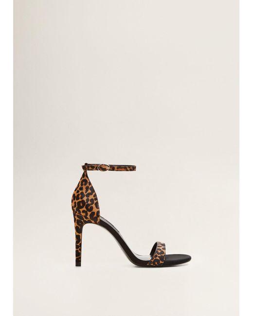 7cae65e1cb Mango - Black Leopard Leather Sandals - Lyst ...
