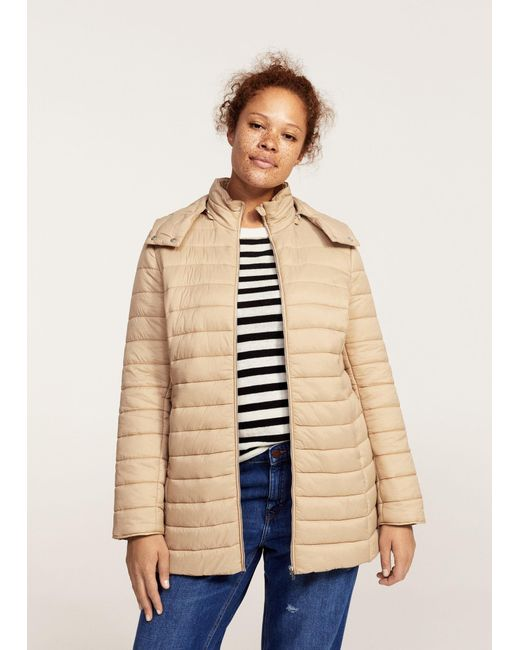 Violeta by Mango | Natural Detachable Hood Quilted Coat | Lyst