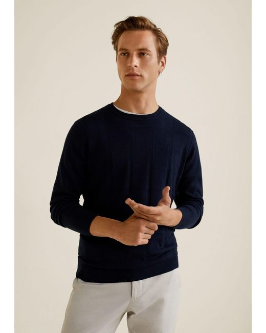 Mango - Blue Checked Structure Sweater for Men - Lyst