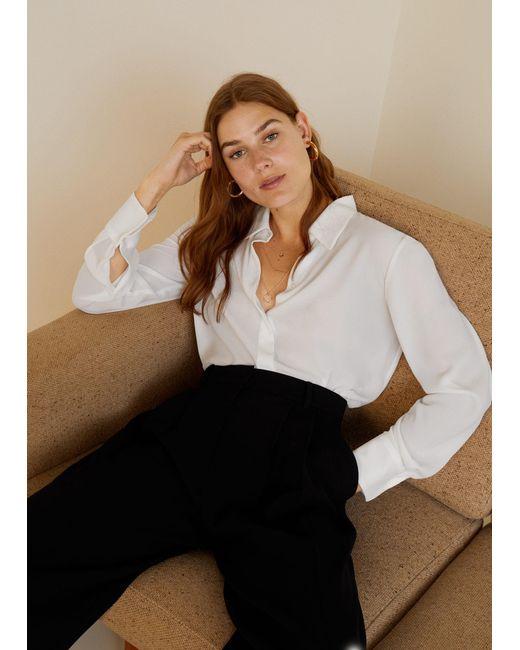 Mango - White Flowy Shirt - Lyst