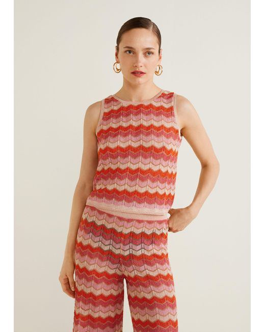 Mango - Red Striped Knit Top - Lyst