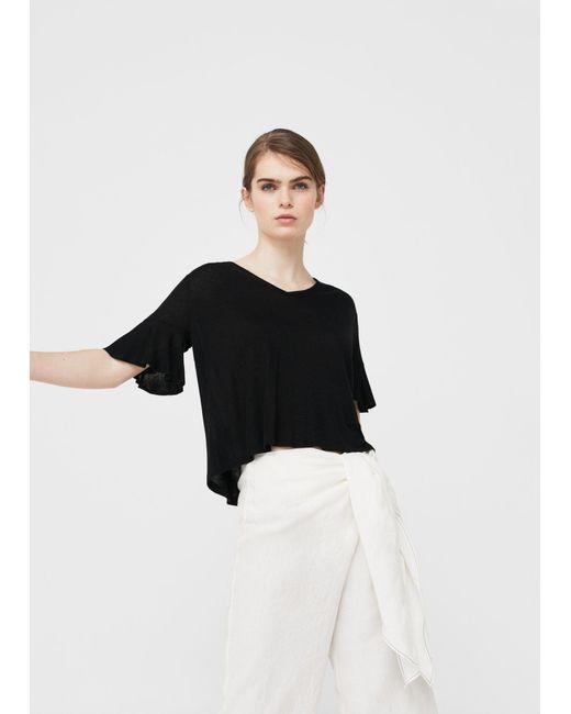 Mango Ruffle Flowy Sweater in Black | Lyst